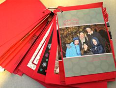 What to do with holiday cards idea: A flip book with one of those rings! Love. This! <--I do this! SO easy and kids (and I!) love looking back at photos. I hate throwing cards away!