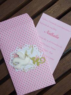 Convite para Batizado com envelope decorado. Cores à escolha do cliente. Tamanho do envelope: 13 cm por 8 cm. R$ 6,50