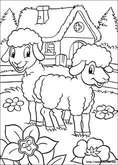 Coloriage moutons et maison