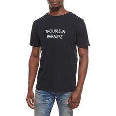 Rag & Bone Trouble in Paradise Knit Graphic Tee ($95) ❤ liked on Polyvore featuring tops, t-shirts, black, sweater pullover, crew neck t shirt, graphic tees, short sleeve tees and black tee