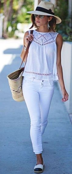 #summer #boho #chic #style | All White