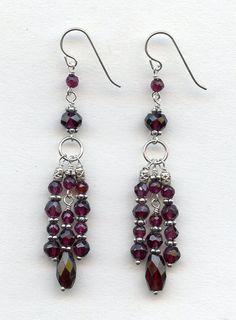 Faceted Garnet silver earrings by RachelMoodybeadwork on Etsy, $45.00