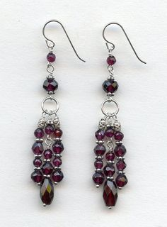 Faceted Garnet silver earrings by RachelMoodybeadwork on Etsy, $45.00