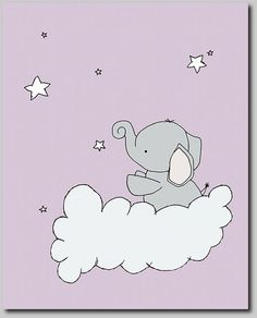 Purple and Gray Nursery Elephant Nursery Art by SweetMelodyDesigns