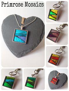 www.primrosemosaics.com Jewelry Crafts, Jewelry Art, Mosaic Tile Designs, Mosaic Glass, Stained Glass, Unusual Jewelry, Glass Jewelry, Craft Gifts, Cool Gifts