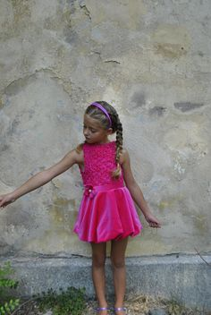 Pink floral macrame short crochet lace sleeveless by ForCutiesKids