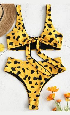 94d49a0d67 Leopard Tie Front High Waisted Bikini Set