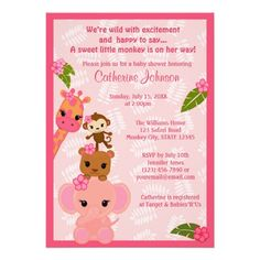 Bubble Gum Jungle Baby Shower Invitations GIRL