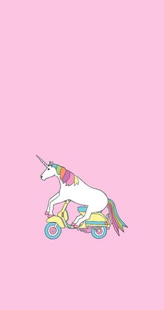 Minimalist: rainbow unicorn on a motorcycle with millennial pink background Phone lock screen wallpaper Unicornios Wallpaper, Cellphone Wallpaper, Lock Screen Wallpaper, Wallpaper Backgrounds, Real Unicorn, Unicorn Art, Rainbow Unicorn, Unicorn Logo, Unicorn Backgrounds
