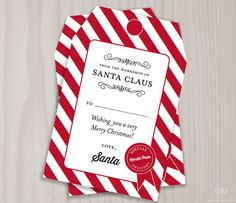 Free printable santas nice list gift tag free printable gift gift tags from santa claus north pole gift tag by dearhenrydesign negle Image collections
