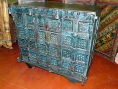 Blue patina on Indian furniture