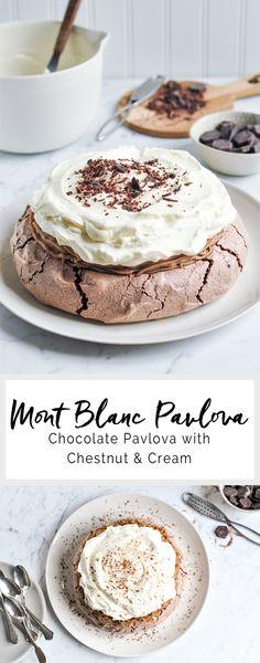 Mont Blanc Pavlova - Chocolate pavlova with chestnut & cream…
