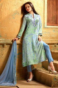 Georgette Embroidered Party Wear Digital Print Straight Cut Salwar Kameez