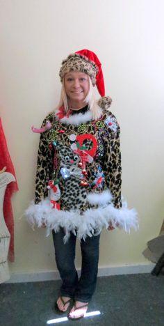 e7e318edb7 3-D Fuzzy Furry Snow Leopard Kitty Cat HILARIOUS Tacky Ugly Christmas  Sweater Feather Boa FooFoo Trim Womens sz L Light Up