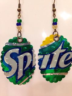 Up-Cycled Sprite Soda Can Earrings, Pop Can Earrings by NCSustainableStyle on Etsy