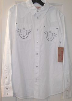 4a242a32b7 New  149 True Religion White Embroidered Logo Cowboy Western Snaps LS Shirt~M   TrueReligionJeans  Western
