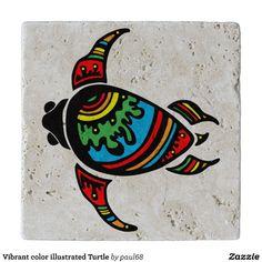 Vibrant color illustrated Turtle Trivet