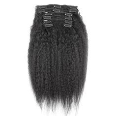 10 - 32 Inch Brazilian Virgin Kinky Straight Clip In Hair Extensions #1B Natural Black #kinkystraight