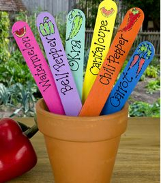 Keep your veggies organized :) LOVE these bright plant stakes made with @DecoArt Inc. Inc. patio paint!