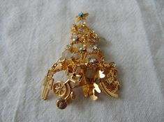 kirks folly ab crystals christmas tree pin charms glass beads crystals gold plated signed kirks folly