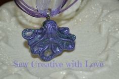 Purple Octopus Necklace Resin Octopus Resin by SewCreativewithlove