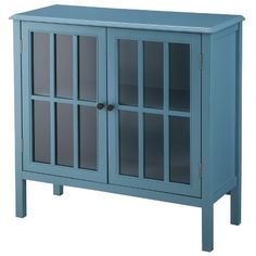 Hollywood Mirrored Storage Cabinet - Blue