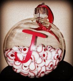 Monogram Ornament with Baseballs by KatieKraftKorner on Etsy, $10.00
