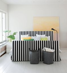 Florö bed frame cover in Stockholm Stripe Jet Black Furniture Upholstery, Ikea Furniture, Home Bedroom, Bedroom Decor, Bedrooms, Bedroom Ideas, Master Bedroom, White Upholstered Bed, Hipster Home Decor