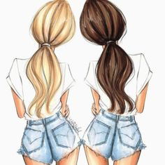 New hair colors added to a popular item in the shop. Check it out! Hnillustratio… New hair colors added to a popular item in the shop. Check it out!et… ❤️ Bff Pics, Bff Pictures, Best Friend Pictures, Pictures To Draw, Bff Images, Drawings Of Friends, Girly Drawings, Cool Art Drawings, Drawing Of Best Friends