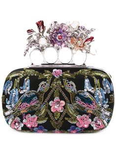 Alexander McQueen Knuckle floral embroidered box clutch
