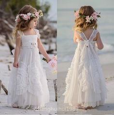 White Tulle Boho Flower Girl Dress Beach Wedding Princess Pageant Birthday Gown