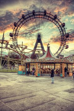 Prater Amusement Park and Riesenrad Ferris Wheel in Vienna by Julian Russi Beautiful World, Beautiful Places, Beautiful Pictures, Carnival Rides, Photoshop Illustrator, Illustrator Tutorials, Abandoned Places, Monuments, Scenery