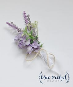 Lavender and wildflower boutonniere wrapped in lace and twine, www.blueorchidcreations.etsy.com