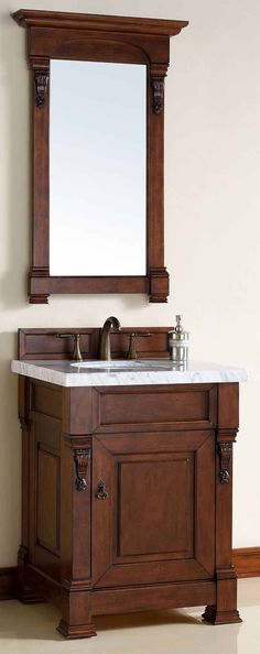 """James Martin Furniture - Brookfield 26"""" Warm Cherry Single Vanity with 4 CM Absolute Black Rustic Granite Top - 147-114-V26-WCH-4BLK"""