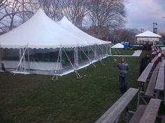 Tent with clear side walls for Philadelphia's St. Patrick's Day Parade