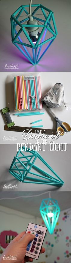 Diamond Himmeli Pendant Light!  Easy Ikea hack using straws, wire and hemma light!