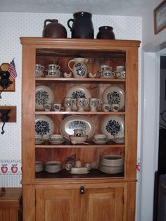 My Pfaltzgraff Collection (must be Tea Rose) in an antique pine cupboard.