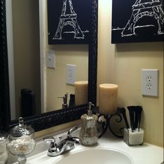 paris themed bathroom. Exactly what I want for master bath  Black and white Paris with hint of red Like Pinterest themed bathrooms Bath
