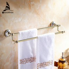 56.51$  Watch here - http://ali0m2.worldwells.pw/go.php?t=32367830715 - Wall Mounted Bathroom Accessories Crystal Double Towel Bar chrome/Towel Holder Bathroom hardware home decoration 6302
