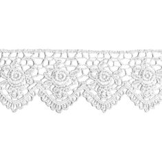 """Venice Lace Scallop Edge Rose 1-1/2"""" Wide 10 Yards-White ($50) ❤ liked on Polyvore featuring fillers, editorial, essentials, lace and decorations"""