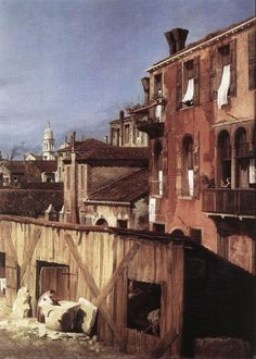 The Stonemason's Yard (detail) by CANALETTO #art