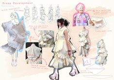 Fashion Illustration Portfolio, Fashion Design Sketchbook, Fashion Design Portfolio, Fashion Sketches, Fashion Layouts, Fashion Drawings, Textiles Sketchbook, Sketchbook Ideas, A Level Textiles