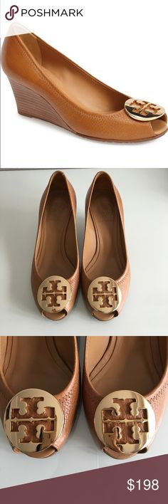 """Tory Burch Wedge Heels Brand New Condition Tory Burch Sally Wedges! 2.6"""" (6.5 cm) stacked wedge heel Metal double-T logo at toe Leather lining Leather sole Tory Burch Shoes Heels"""