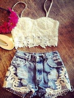 Just needs boots! Wear to ACL: Lace Cropped Top and Denim Cutoffs