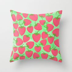 Strawberry Sweet in Green Throw Pillow by Lisa Argyropoulos - $20.00