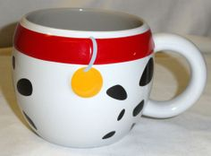 DISNEY Coffee Mug 101 Dalmations Dog Puppy Pongo Red Collar Oversized Spots