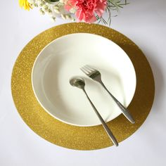 12 Inch Round Paper  Placemat for Bridal Showers Partie New Year's Eve ,Table Glitter Gold Decor