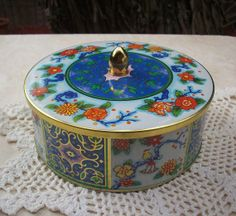Vintage Floral Tins | Vintage Daher Floral Tin with Oriental Birds and by ... | Daher tin l ...