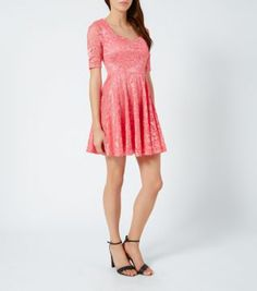 Coral Lace Sweatheart Neck Skater Dress