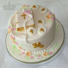 Celebration cake with holy communion theme, fondant covered and decorated, details from royal icing. Bible Cake, First Holy Communion Cake, First Communion Decorations, Confirmation Cakes, Wedding Anniversary Cakes, Paris Cakes, Book Cakes, Classic Cake, Occasion Cakes